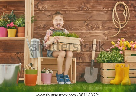 Cute child girl caring for her plants. Cute little girl holding a box of plants standing in the backyard. Spring concept, nature and care. - stock photo