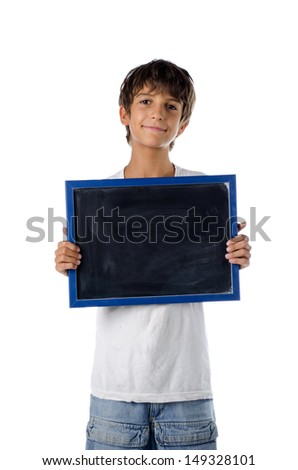 cute child holding blank blackboard - isolated on white - stock photo