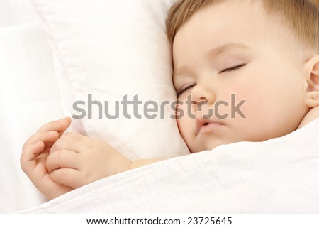 Cute child is sleeping, high key portrait - stock photo