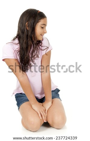 Cute child looking at the side . - stock photo