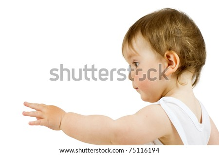 """Cute child shows forward. """"Angel touch"""" isolated on white. - stock photo"""