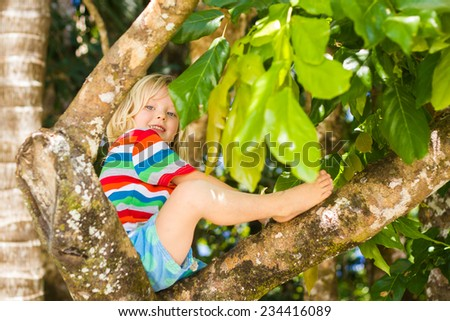 Cute child sitting in tree at at the beach - stock photo