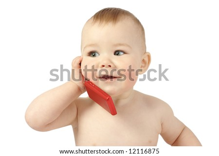 Cute child talking to a cell phone, isolated over white - stock photo