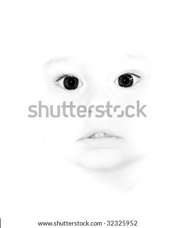 cute child with big dark eyes in high key over white - stock photo