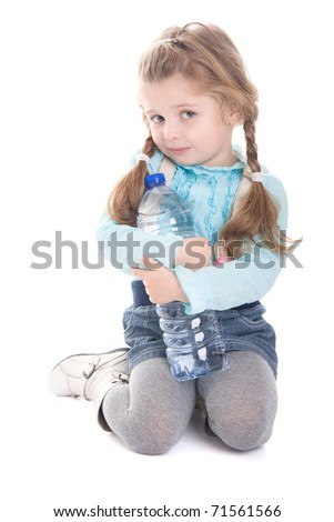 Cute child with bottle of water isolated on white background - stock photo
