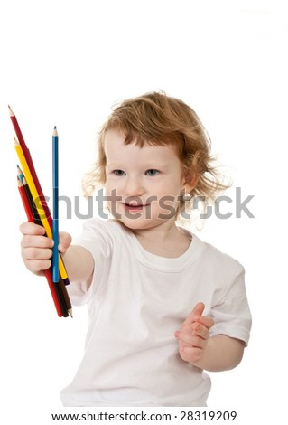 Cute child with the pencils - stock photo