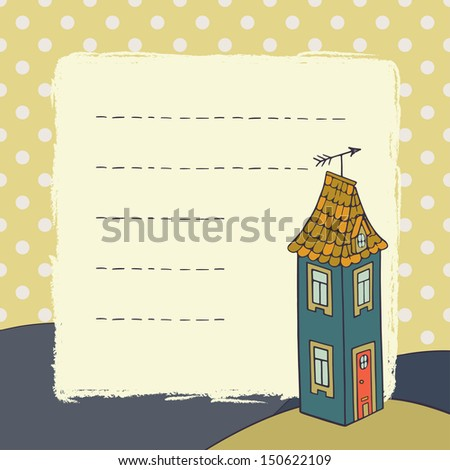 Cute childish card template with hand drawn cartoon house on polka dot background.  - stock photo