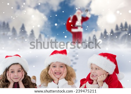 Cute children against blue sky with white clouds - stock photo