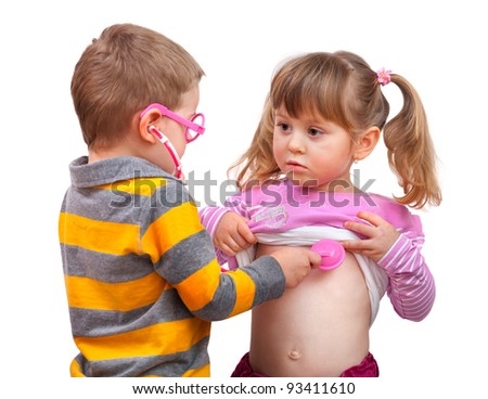 Cute children are playing doctor with stethoscope, isolated over white - stock photo