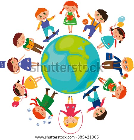 Cute children around the World. ?hildren's Day illustration. Children's Day concept.