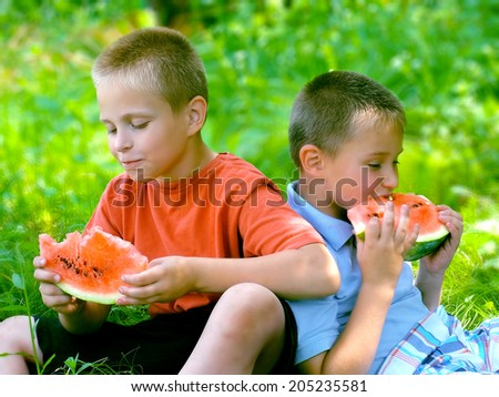 Cute children eating red watermelon on the grass in summertime - stock photo