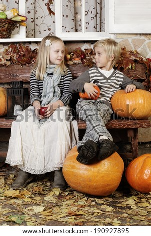 Cute children, girl and boy, little couple - stock photo