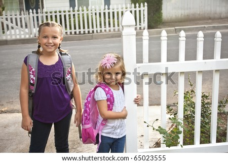 Cute Children Going to Elementary School - stock photo