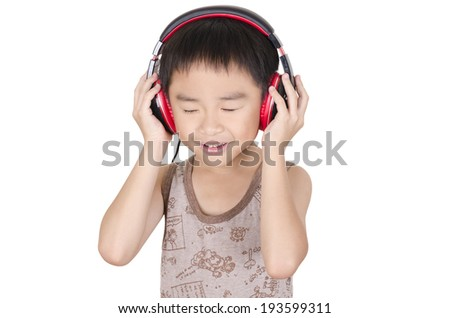Cute children listen to music