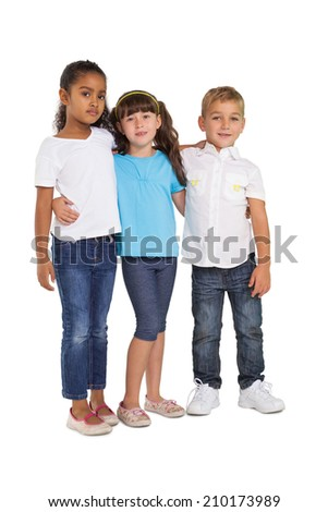Cute children smiling at camera on white background