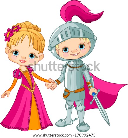 Cute children wearing Medieval Costumes. Raster version - stock photo