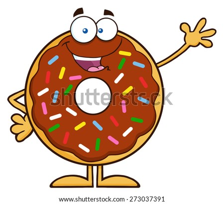Cute Chocolate Donut Cartoon Character With Sprinkles Waving. Raster Illustration Isolated On White - stock photo