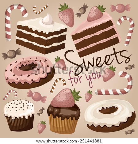 Cute chocolate sweets (cake, donut, muffin, candy, strawberry)