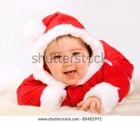 cute christmas baby boy - stock photo