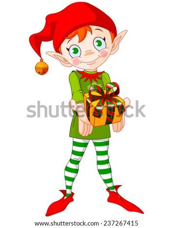 Cute Christmas elf giving gift - stock photo
