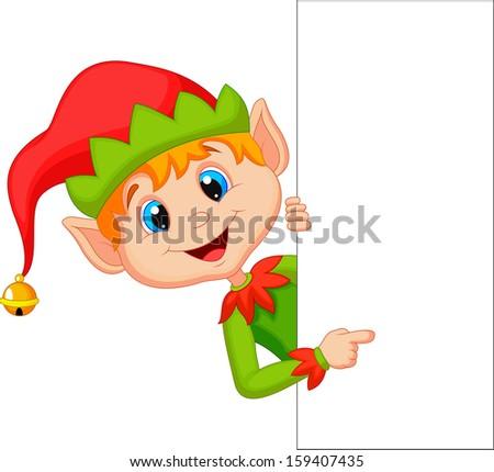 Cute Christmas elf pointing - stock photo