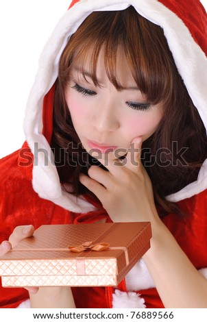 Cute Christmas girl, half length closeup portrait on white background. - stock photo