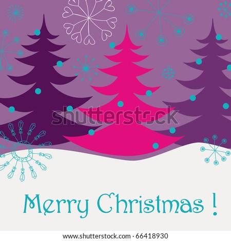 Cute Christmas greeting card - stock photo
