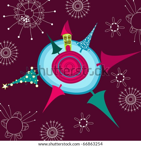 Cute Christmas greeting card - stock photo