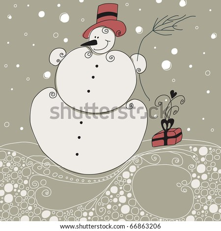 Cute Christmas greeting card with snowman - stock photo