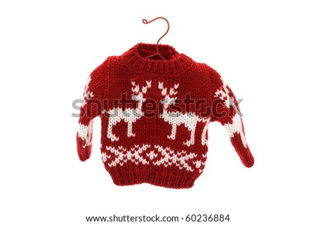 Cute Christmas sweater isolated on white background, Merry Christmas