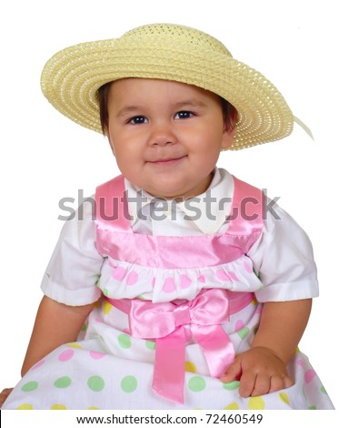 cute chubby Hispanic baby girl in new Easter dress outfit, isolated on white background - stock photo