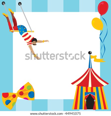 Cute Circus themed party invitation with room for you type - stock photo