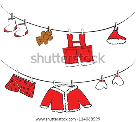 Cute clothes hanging on clothesline raster version - stock photo