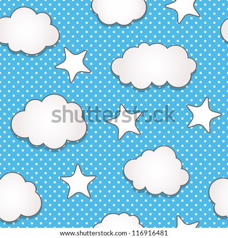 Cute clouds seamless pattern, raster version - stock photo