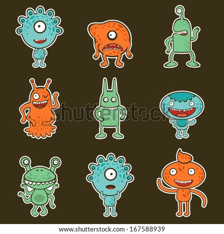 Cute collection of funny little monsters - stock photo