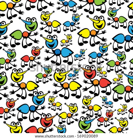 cute colorful ants seamless pattern - stock photo