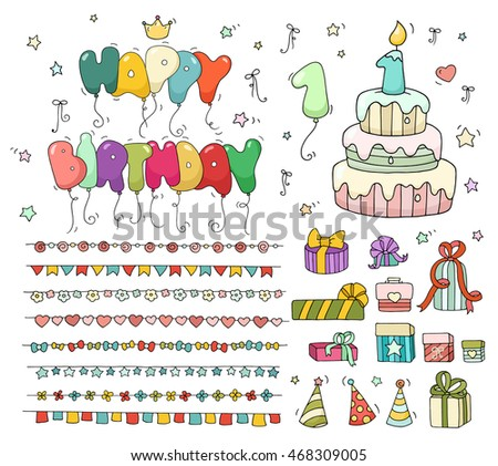 Cute colorful birthday set. Cartoon birthday cake with candle number one, balloons, garlands, gift boxes. Doodle collection for party, kids design, funny invitations.