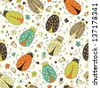 Cute colorful bugs seamless pattern. Raster version. - stock photo