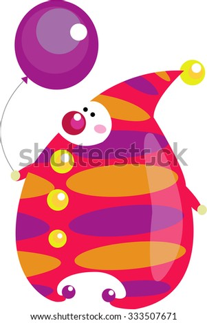 Cute colorful cartoon clown with violet balloon and red nose isolated on white background - stock photo
