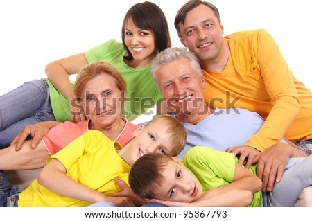 cute colorful family smiling on a white - stock photo