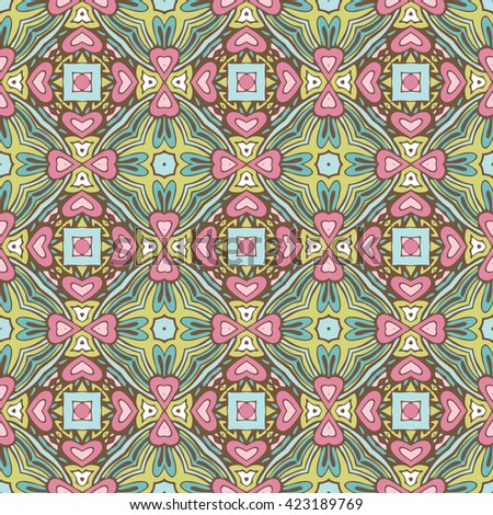 cute colorful floral  pattern vintage tiles