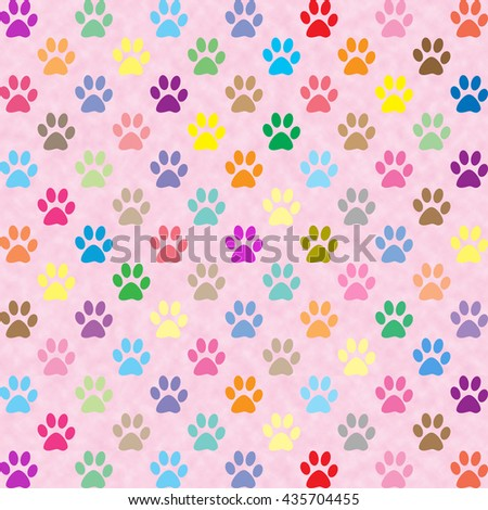 Cute colorful puppy paw prints pattern on pink background