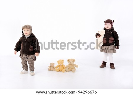 cute couple and bears - stock photo