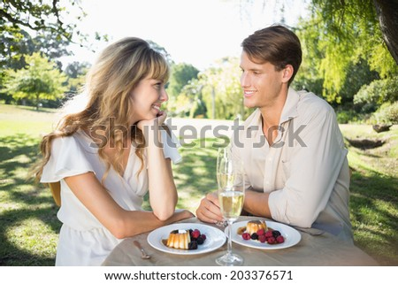 Cute couple having champagne and desert in the park on a sunny day