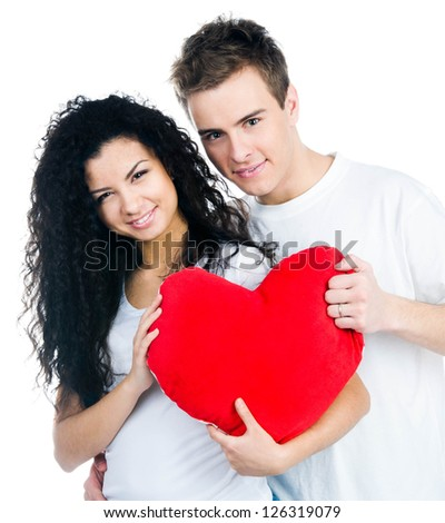 Cute couple isolated on a white background - stock photo