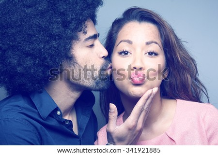 Cute couple posing - stock photo