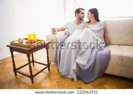 Cute couple relaxing on couch under blanket at home in the living room - stock photo