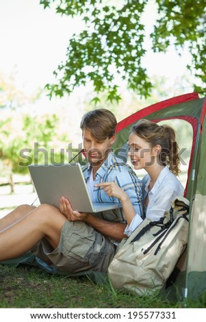 Cute couple sitting in their tent looking at laptop on a sunny day - stock photo
