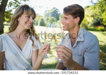 Cute couple sitting outside toasting with champagne on a sunny day - stock photo