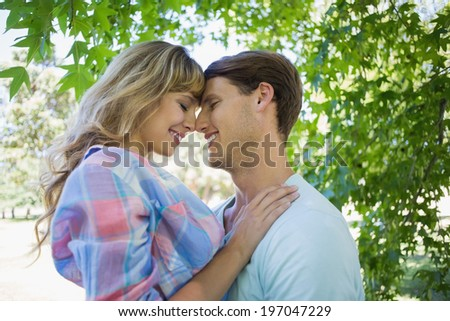Cute couple smiling and hugging in the park on a sunny day - stock photo